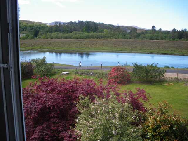 Garden view and view over River Shiel
